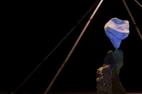 A piece of 2 - balancing human sized rocks